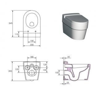 Hänge Waschbecken Keramik + Hänge Wc inkl. Wc Sitz mit absentautomatik Komplett - Vorschau 5