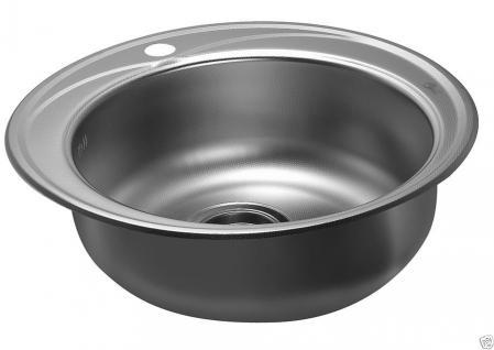 Edelstahl Küchenspüle Rundspüle Waschbecken Einbauspüle Spüle+Zub. Spülbecken - Vorschau 2
