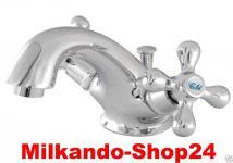 Retro Zweigriff Badezimmer Wasserhahn Nostalgie Waschtisch Armatur Classic V1