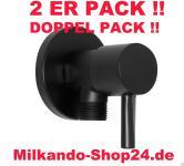 2ER PACK ECKVENTIL 1/2 ZOLL ECKIG RUND WANDROSETTE ZOCZ 1/2 zu 3/8 Zoll Schwarz