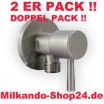 2ER PACK ECKVENTIL 1/2 ZOLL ECKIG RUND + WANDROSETTE ZOSS 1/2 zu 3/8 Zoll