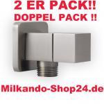 2ER PACK ECKVENTIL 1/2 ZOLL ECKIG RUND + WANDROSETTE ZKSS 1/2 zu 1/2 Zoll