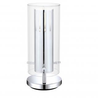 Eglo LED Tischleuchte Pinto Tischlampe Glas Silber Leuchte Modern Chrom
