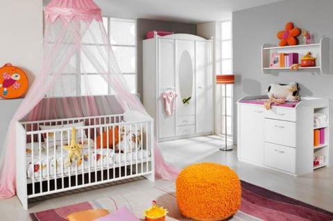 Rauch Packs Lilly Babyzimmer 3-teilig inkl. Bett Drehtürenkombischrank Wickelkommode alpinweiß