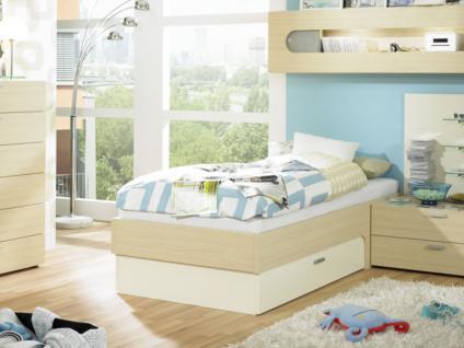 Rudolf Möbel Max-i Jugendzimmer Maxi Bett Liege mit Schubkasten ML1 rechts oder ML2 links Farbe und Größe Sonderlänge wählbar