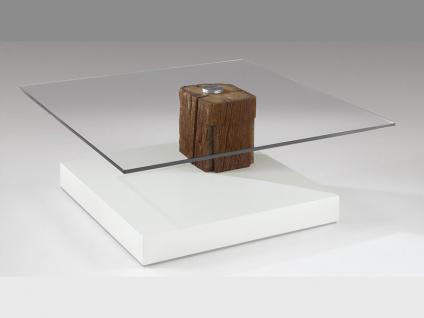 Venjakob Couchtisch 4400 Unterbauausführung Altholz Unikat, Tisch mit Kristallglasplatte quadratisch rollbar in verschiedenen Ausführungen