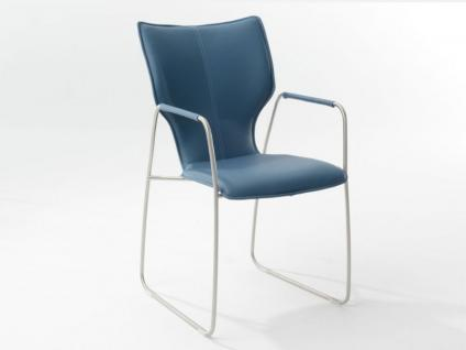 Bert Plantagie Stuhl Joni 721 Schlittengestell Uni-Polsterung und offene Armlehnen Polsterstuhl für Esszimmer Esszimmerstuhl verschiedene Gestellausführung Bezug in Leder oder Stoff wählbar