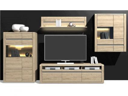 IDEAL-Möbel Wohnkombination Modesto Kombi 04 Anbauwand für Wohnzimmer Wohnwand San Remo Sand Nachbildung Beleuchtung wählbar