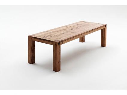 MCA Möbel Furniture Tisch Leeds Vierfusstisch Esstisch in Eiche verwittert, bassano, gekälkt und Wildeiche masssiv in 5 verschienden Größen