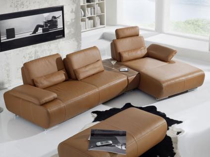 K+W Miami 7487 KW Möbel Ecksofa Garnitur Wohnlandschaft mit Segmentisch für Ihr Wohnzimmer, Leder oder Stoff wählbar