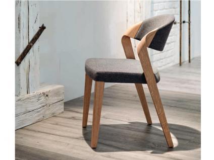 Voglauer V-Montana Spin-Chair Stuhl stapelbar SEGP35 V Montana Gestell Wildeiche geölt Sitz und Rücken gepolstert Bezug in Loden oder Leder wählbar