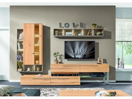 Loddenkemper Media Natur Vorschlagskombination 9765 Wohnwand mit TV-Bank exklusiv mit Metall-Kufe Unterteil Hängeelement L-Regal und Querregal