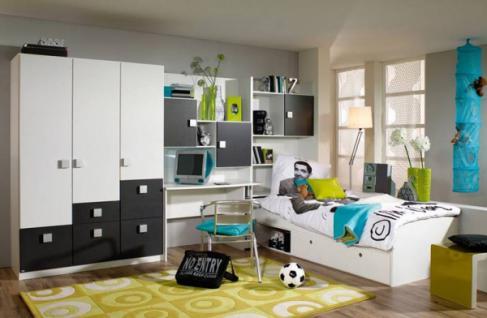 Rauch Skate Jugendzimmer Kinderzimmer 5-teilig Schrank Bett Schreibtisch Schrank und Farbe und Absetzung wählbar