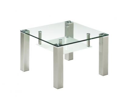 Vierhaus Couchtisch quadratisch mit klarer Glasplatte und satinierter Glasablage, Größe wählbar