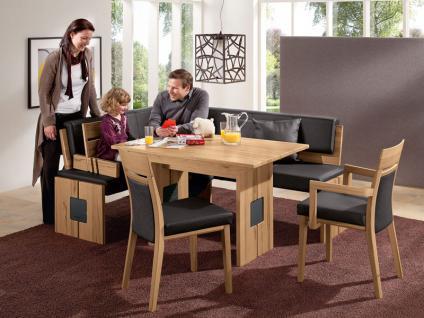 Wössner Eckbankgruppe Monte Essgruppe Dining-Collection in Rotkernbuche natur und Leder schwarzbraun 4-teilig Eckbank Stuhl Esstisch Tisch mit Ansteckplatte
