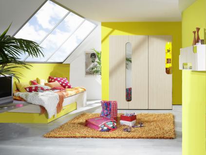 Rudolf Möbel Max-i Jugendzimmer Maxi 4-teilig mit Bett Kleiderschrank mit Spiegel und Kleiderschrank mit Einsatzbeleuchtung Hängeregal