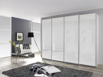 Rauch Packs Syncrono C Panoramaschrank mit kompl. Front Glasauflage wählbar Weißglas, Basaltglas oder Schwarzglas Schwebetürenschrank Korpus Dekor und Größe wählbar Kleiderschrank