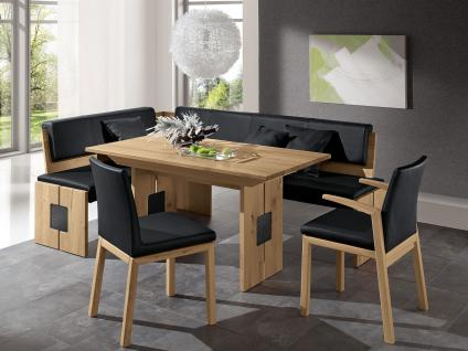 Wössner Eckbankgruppe Dining-Collection Monte Essgruppe in Wildeiche natur und Leder schwarz 4-teilig Eckbank 2 x Stuhl Esstisch Tisch mit Ansteckplatte