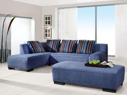 Pora Polstermöbel Ecksofa Modell Leo 2 Polstergarnitur 7-teilig Sofa 2 1/2-Sitzer, Eckschenkel Hocker links, Hocker und 4 Kissen Stoffgruppe wählbar
