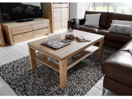 Wöstmann Soleo 3000 Linos Couchtisch oder Beistelltisch für Wohnzimmer Tischplatte mit Glas oder Holz Ausführung in Wildeiche oder Kernbuche wählbar