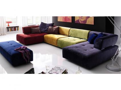 K+W Möbel Reno 7066 Wohnlandschaft Ecksofa Sofagarnitur Sofa Sofaecke, Zwischenelement und Longchair Polstergarnitur Couch für Wohnzimmer Sofa in Bezug Stoff oder Leder wählbar