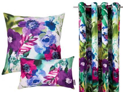 Tom Tailor Wohnaccessoires Botanical Flowers bezaubernde Kissenhülle mit wunderschönen Blütendruck aus Baumwolle in 2 verschiedenen Größen wählbar, Füllung auf Wunsch wählbar