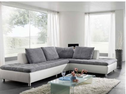 Kombination Denver bestehend aus 1 Eckschenkel-Sofa inkl. Hocker rechts, 1 Sofa, 2-sitzig, ohne Armlehne inkl. Hocker links, 1 Kissensatz mit 4 Kissen