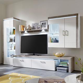 Falca Wohnwand Kombination 17 von IDEAL Möbel Anbauwand Korpus Weiß Melamin Front Weiß Folie Hochglanz tiefgezogen Abesetzung Beton Nordic
