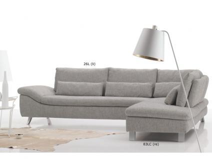 Ewald Schillig Dragon Ecksofa Sofa 2 Sitzer + Anbausofa Armlehne inkl.4 Kissen für Wohnzimmer in Stoff oder Leder wählbar