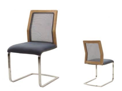 Schwingstuhl Soleo3000 von Wöstmann moderner Stuhl in Wildeiche oder Kernbuche für Esszimmer Bezug in Stoff oder Leder wählbar