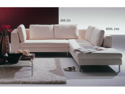 Ewald Schillig Domino Ecksofa Sofa 2 Sitzer + Anbausofa mit festem Hocker Armlehne inkl. 5 Kissen für Wohnzimmer in Stoff oder Leder wählbar