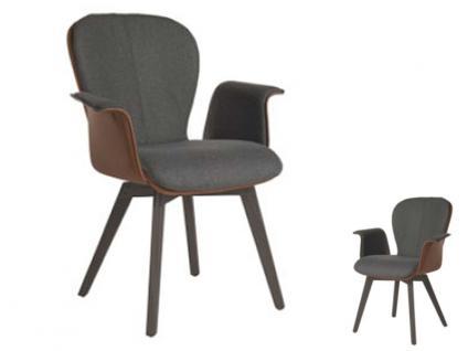 Blake WOOD 635B Komfort mit Bi-Color-Mattenpolsterung von Bert Plantagie Stuhl mit Armlehnen für Esszimmer Esszimmerstuhl Gestellausführung und Bezug wählbar