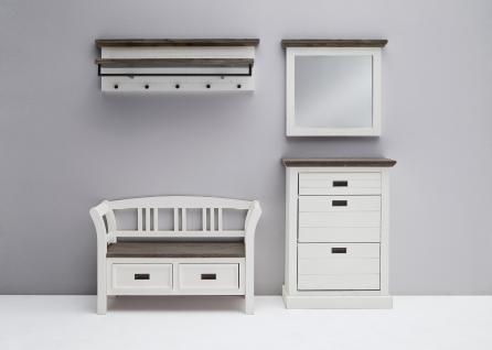 MCA Gomera Garderoben Set 2 komplette Garderobe für Ihren Flur mit Bank, Schuhschrank, Garderobenleiste mit 5 Haken und Spiegel in Akazie strukturweiß lackiert/ massiv