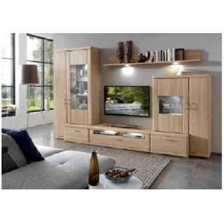 IDEAL-Möbel Bruel Wohnkombination 41 oder 141 Anbauwand für Wohnzimmer Wohnwand Front in Eiche Bianco Lamelle massiv geölt
