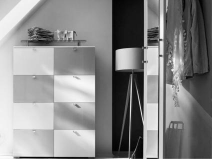 Wittenbreder Multi Color UNA 421 Schuh Klappschrank Schuhschrank mit Spiegel Garderobe; Schrank in Korpus Weiss, Front Hochglanz