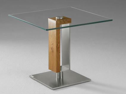 Venjakob Couchtisch 4001 quadratisch, Kristallglas, Tisch-Unterbau Holz und Edelstahl in verschiedenen Ausführungen