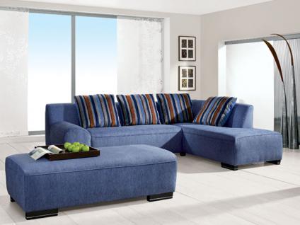 Pora Polstermöbel Ecksofa Modell Leo 2 Polstergarnitur Sofa 2 1/2-Sitzer, Eckschenkel Hocker rechts, Hocker und 4 Kissen Stoffgruppe wählbar