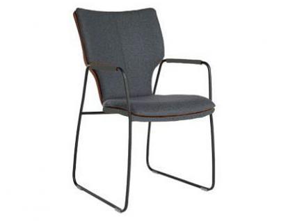 Bert Plantagie Stuhl Joni 721C Komfort mit Uni-Mattenpolsterung Schlittengestell und offenen Armlehnen Stuhl für Esszimmer Esszimmerstuhl Gestellausführung und Bezug in Leder oder Stoff wählbar