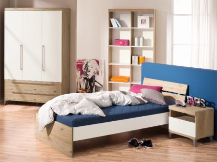 Paidi Remo Jugendzimmer 3 teilig Liege mit Nachtkommode Kleiderschrank in Bordeaux-Eiche-Nachbildung Kreideweiß