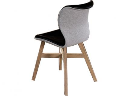Voglauer V Solid Stuhl SEGP64 V-Solid in Wildeiche rustiko schwarz Sitz und Lehne gepolstert Bezug in Loden oder Leder wählbar Rückenschale gepolstert und mit anderem Bezug wählbar