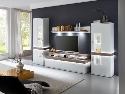 IDEAL-Möbel Wohnwand Albi Kombination 13 mit Vitrinen Wandbord und TV-Element Anbauwand für Wohnzimmer Ausführung wählbar