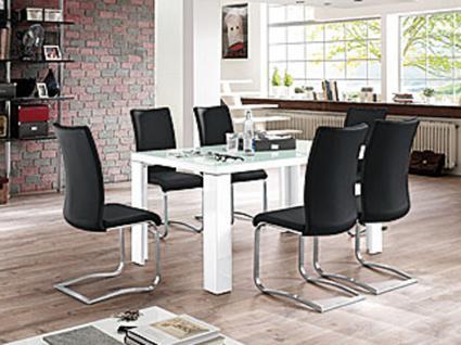 MCA Furniture Tischgruppe Tizio moderner Esstisch Hochglanz weiß ...