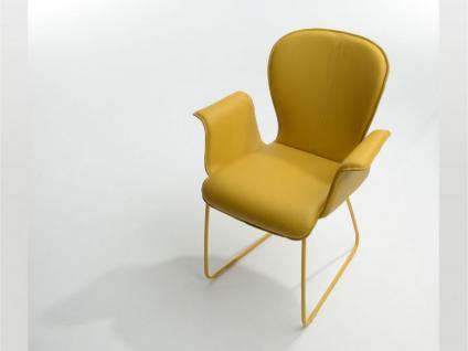 Bert Plantagie Blake Schlitten mit Uni-Polsterung und geschlossenen Armlehnen Stuhl 631A für Esszimmer Esszimmerstuhl Gestellausführung und Bezug in Leder oder Stoff wählbar