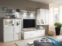 IDEAL-Möbel Wohnwand Bana Kombination 33 mit Hängeschrank TV-Element Highboard und Wandbord 4-tlg. Anbauwand für Wohnzimmer oder Ferienwohnung mit oder ohne Beleuchtung wählbar