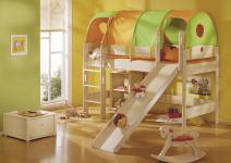 Paidi Fleximo Spielbett 125 cm oder 155 cm Kinderbett mit Griffleiter und Rutsche in Birke hell massiv