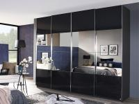 Saligo Rauch Dialog - eleganter Panoramaschrank, Kleiderschrank, Schwebetürenschrank, Größe, Korpus / Teilfront- Glasauflage wählbar, Türenfelder mittig Spiegel