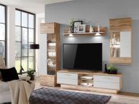 IDEAL-Möbel Wohnwand Alfonso Kombination 17 Absetzung in Weiß Folie matt mit Hängeschrank TV-Element Vitrine und Wandbord 4-tlg. Anbauwand für Wohnzimmer oder Ferienwohnung mit oder ohne Beleuchtung wählbar
