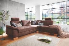 Steinpol Polsteria Flexi Form Eckkombination 2, 5-Sitzer Winkelecke 1, 5er Element ohne Armteil mit Außenhocker Couch spiegelverkehrt lieferbar in Stoff Ausführung und Füße wählbar