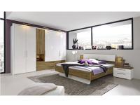 Loddenkemper Zamaro Komplettes Schlafzimmer in Sonderfarbkombination ohne Beleuchtung Kleiderschrank 6-türig mit 2 Schubkästen und Nische Bett mit Kopfteil und zwei Nachtkonsolen Zubehör wählbar