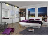 Rauch Select Tira Schlafzimmer mit Schwebetürenschrank mit Spiegel mit Bett in Korpus alpinweiß Front Hochglanz weiß